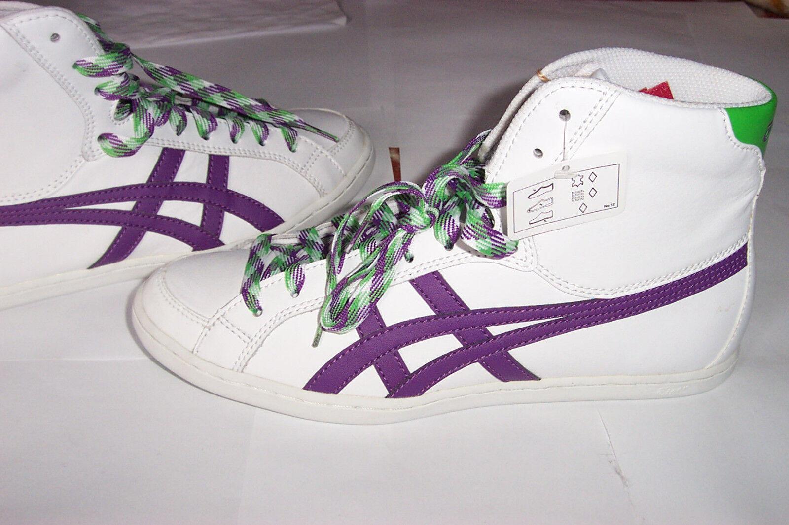 ASICS TIGER Camonte Hi blanc violet Femmes Cuir Taille UK 7-UE 38-cm 24 NEUF