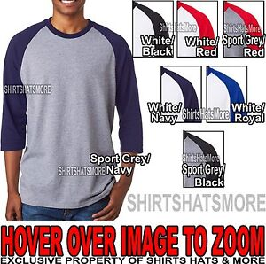 Mens-3-4-Sleeve-Baseball-T-Shirt-100-Preshrunk-Cotton-S-M-L-XL-2XL-3XL-NEW