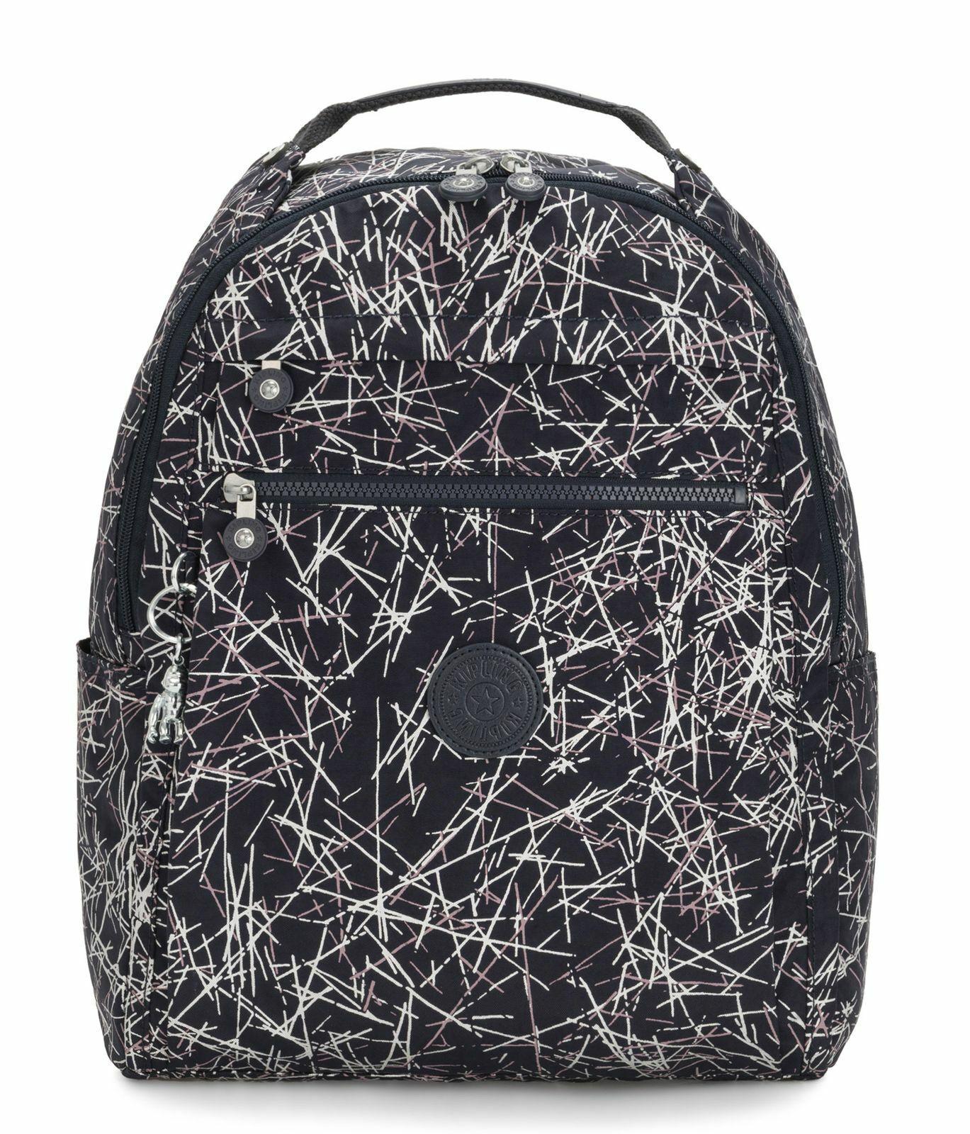 Kipling Micah Medium Backpack Navy Stick Print