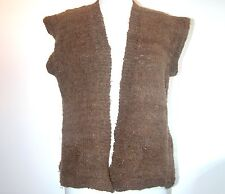 VINTAGE HAND SPUN/KNIT BROWN VEST/SWEATER/JUMPER BUST 38""