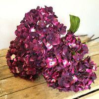 Bunch Of 3 Plum/purple Faux Silk Hydrangeas, Realistic Artificial Flowers