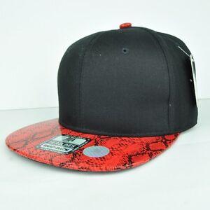 e2bb1ba8eec Headlines Two Tones Black Faux Red Snake Skin Adjustable Snapback ...