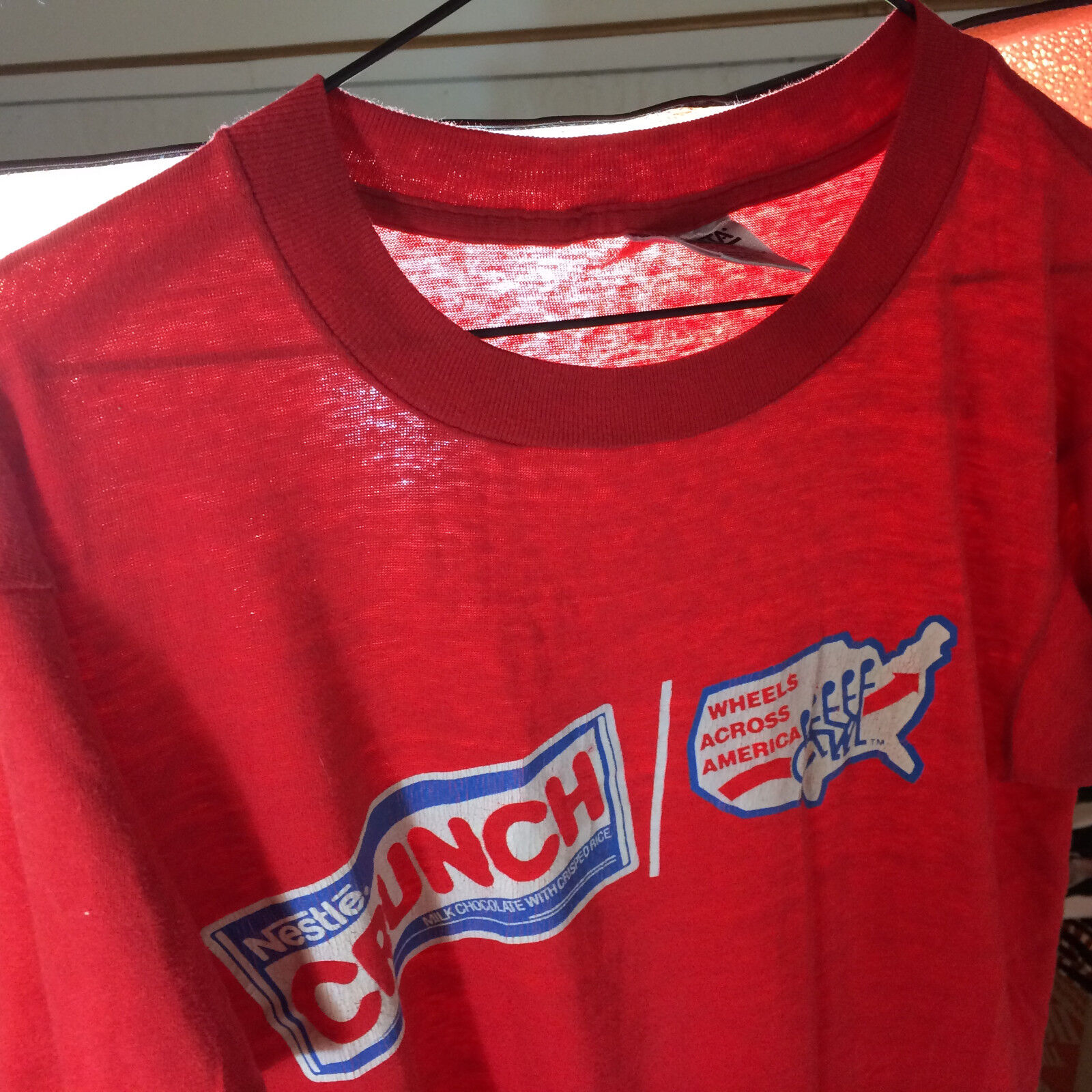 Vintage Paper Thin Distressed Nestle Crunch Wheel Chair 80s T Shirt Chocolate