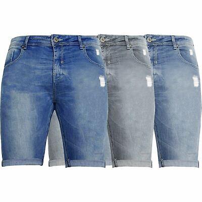 Kruze Mens Denim Shorts Stretch Regular Fit Distressed Ripped Half Jeans Pants