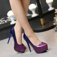 Purple Women's Pu Party High Heels Club Platform Pumps Party Dress Shoes