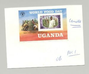 Uganda-1984-World-Food-Day-UN-1v-S-S-Unissued-Imperf-Proof-on-Card-with-Notes