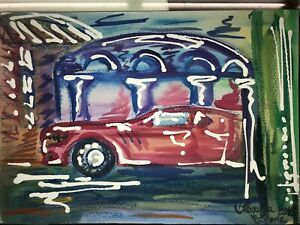 ORIGINAL-Malerei-A4-PAINTING-abstract-abstrakt-contemporary-art-city-stadt-auto