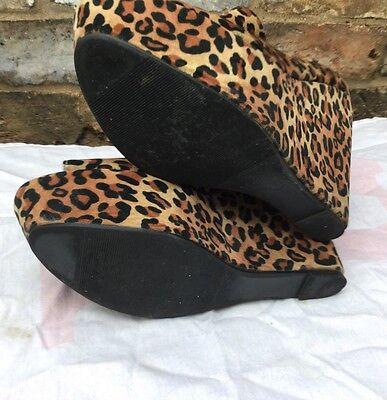 Chicas y señora con estampado de leopardo de Bombas Zapatos Cuñas Talla 7