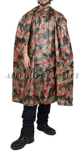BudK Swiss Military HOODED RAIN PONCHO Alpenflage Camo Wet Weather Shelter EXC