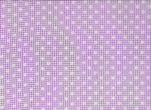 White Checked Floral Polycotton Fabric Lilac