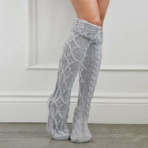 Women Winter Wool Warm Knit Over Knee Thigh High Stockings Socks Tights New