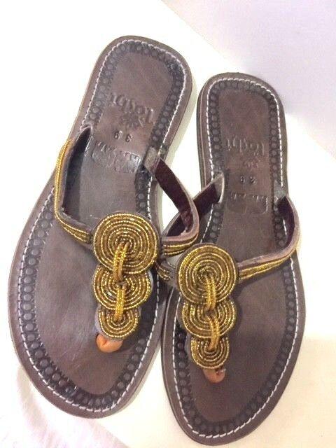Women Genuine Leather Flip Flops Sandals With Beads Size eur 6.5 US = 37 eur Size edb215