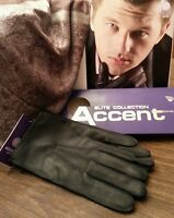 Men's Genuine Deer Leather Gloves, Color Black, Size8.5, 9.5(price For One Pair)