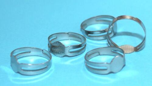 Grande Pack anillo materiales platino ajustable con 8 mm superficie adherente tamaño ca 17mm nuevo