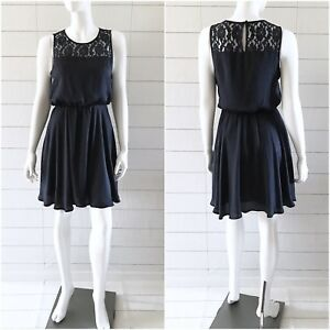 Details About Forever 21 Dress Womens Size Medium Navy Blue Fit Flare Sleeveless Lace Panel