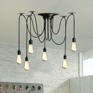 Details About Us Diy Ceiling Spider Light Ajustable Rustic Chandelier Industrial Hanging Light