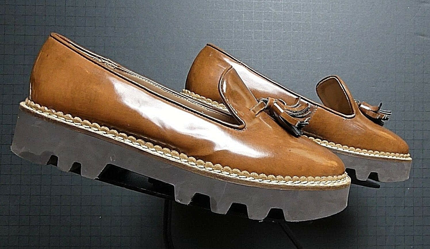 Women's Jupe Vendue Tobacco Patent Leather Chunky Funky Tassel Loafer Sz. 37 6.5
