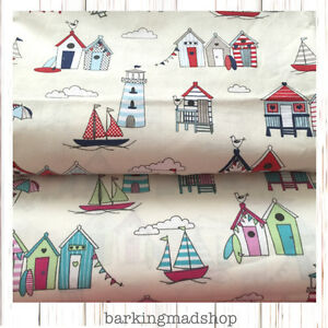 Image Is Loading  Cotton Nautical Seaside Fabric Beach Hut Material