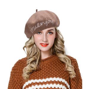 Frauen 100 Wolle Franzosischer Maler Barett Hut Bestickte