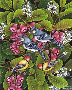 Hand-painting-Balinese-Sparrow-Crested-Lark-Birds-306