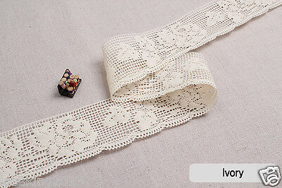 1Y vintage wedding cotton lace Crochet trim (5cm) ivory roseS laceking2013