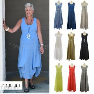 54da673d6e FENINI USA Linen Long Ribbed TANK DRESS 2-Way Skirt Detail XS-XXL ...