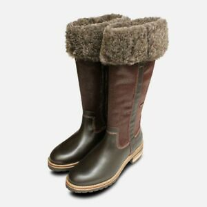 Details about Warm Fur Lined Tamaris Long Boots in Brown Duo Tex
