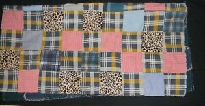 """Quilt Blue Jean & Plaid Green Flannel 46""""x46""""  Baby Crib Lap Doll Blanket Toss"""