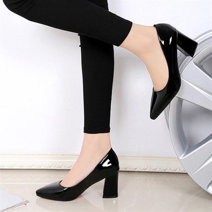 Women's Fashion Block Heels Pointed Color Toe Patent Leather Candy Color Pointed Formal Shoes e16813