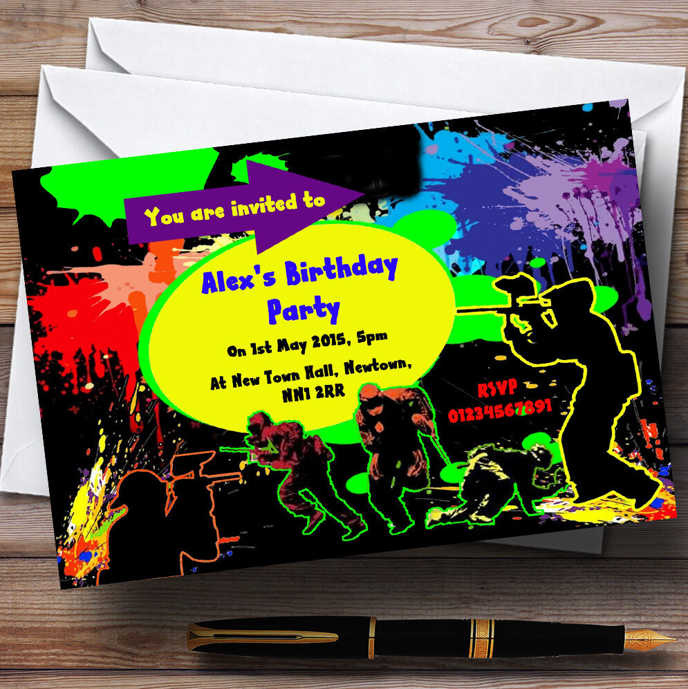 Paintball Laser Tag Personalised Birthday Party Invitations - TH127