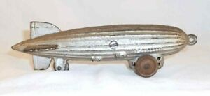 Rare Antique Cast Iron Still Penny Bank Graf Zeppelin Pull Toy on Wheels
