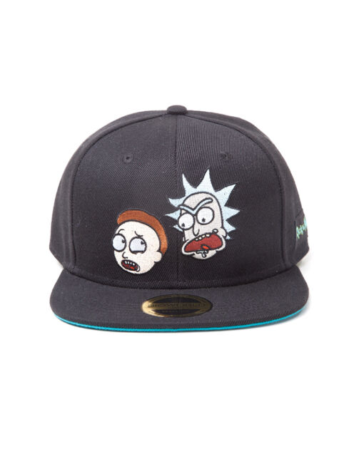 a4be9df1ae1 OFFICIAL RICK AND MORTY - CHARACTER FACES BLACK SNAPBACK CAP (BRAND NEW)