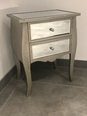 Silver Moc Croc Embossed 2 Drawer Bedside Cabinet Table Chest Of Drawers