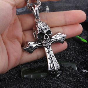 Biker-Stainless-Steel-Large-Skull-Cross-Pendant-Gothic-Men-039-s-Necklace-Cool-GIFT