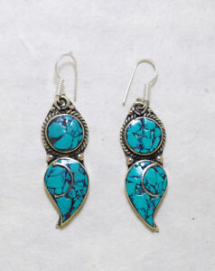 Ethnic-sterling-silver-earrings-Asian-Turquoise-jewelry-Handmade-Jewelry-E13
