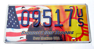 New-Mexico-SUPPORT-OUR-TROOPS-License-Plate-EAGLE-FLAG-MILITARY