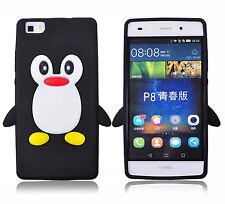 Schwarz Silikon Pinguine Handyhülle / Cover Für Huawei P8 Lite (5 zoll)