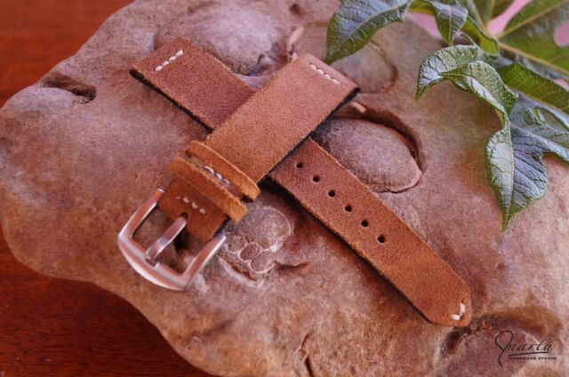 Slim Tan suede handmade watch strap vintage watch Genuine Leather
