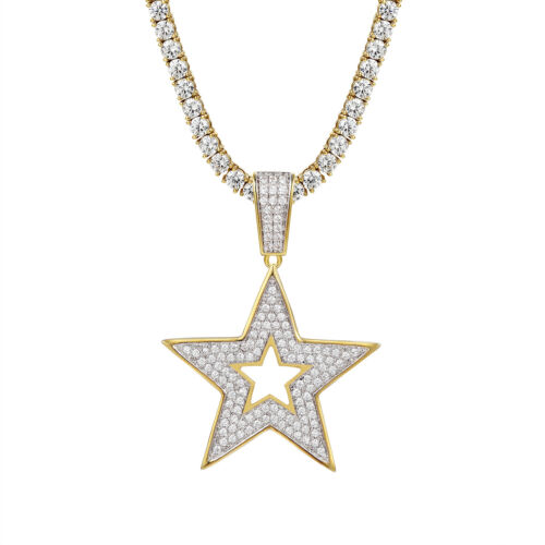 Custom Design Star Pendant 14k Gold Finish Iced Out Simulated Diamonds Chain New