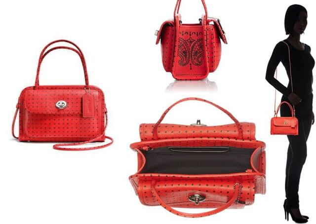 ed530f63e Coach Cady Crossbody Handbag Polka Dot Crossgrain Leather F34471 Red ...