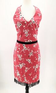 London-Times-Womens-Halter-Sheath-Dress-Pink-Black-Floral-Stretch-Lace-Zip-L-14