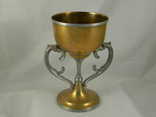 "Antique Brass Pewter 8"" Loving Cup Chalice Goblet Trophy Middletown Silver Co"