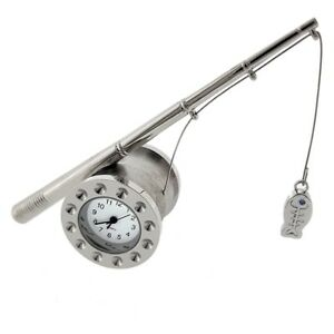 FISHING-ROD-amp-REEL-MINIATURE-w-FISH-COLLECTIBLE-MINI-CLOCK-GIFT