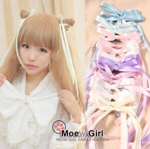 1 pair cute lolita long ribbon hairpin bow hair clip amo