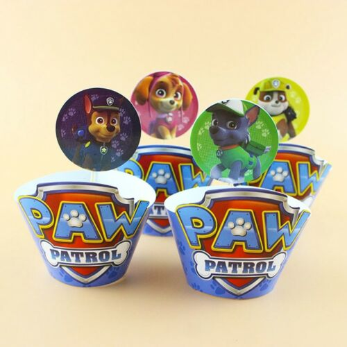 24pcs Pat/'Patrouille 12x emballages+12x Toppers enfants fête