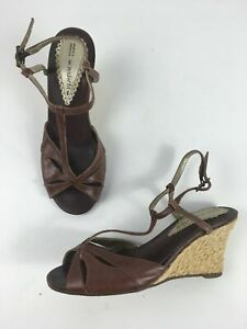 WOMENS MARKS & SPENCEDR BROWN LEATHER T-BAR STRAPPY WEDGE HEEL SANDALS UK 3 WIDE