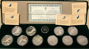 Canada-1988-Calgary-Winter-Olympic-PROOF-Silver-Coin-Set-10-Coins-w-box-amp-COA