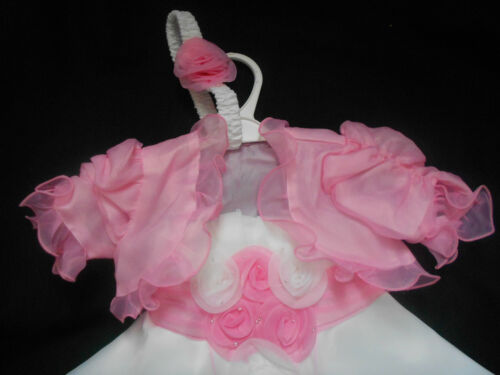 Pink Ivory Christening Pageant Easter Xmas Flower Girl Wedding Party Dress 0-24m