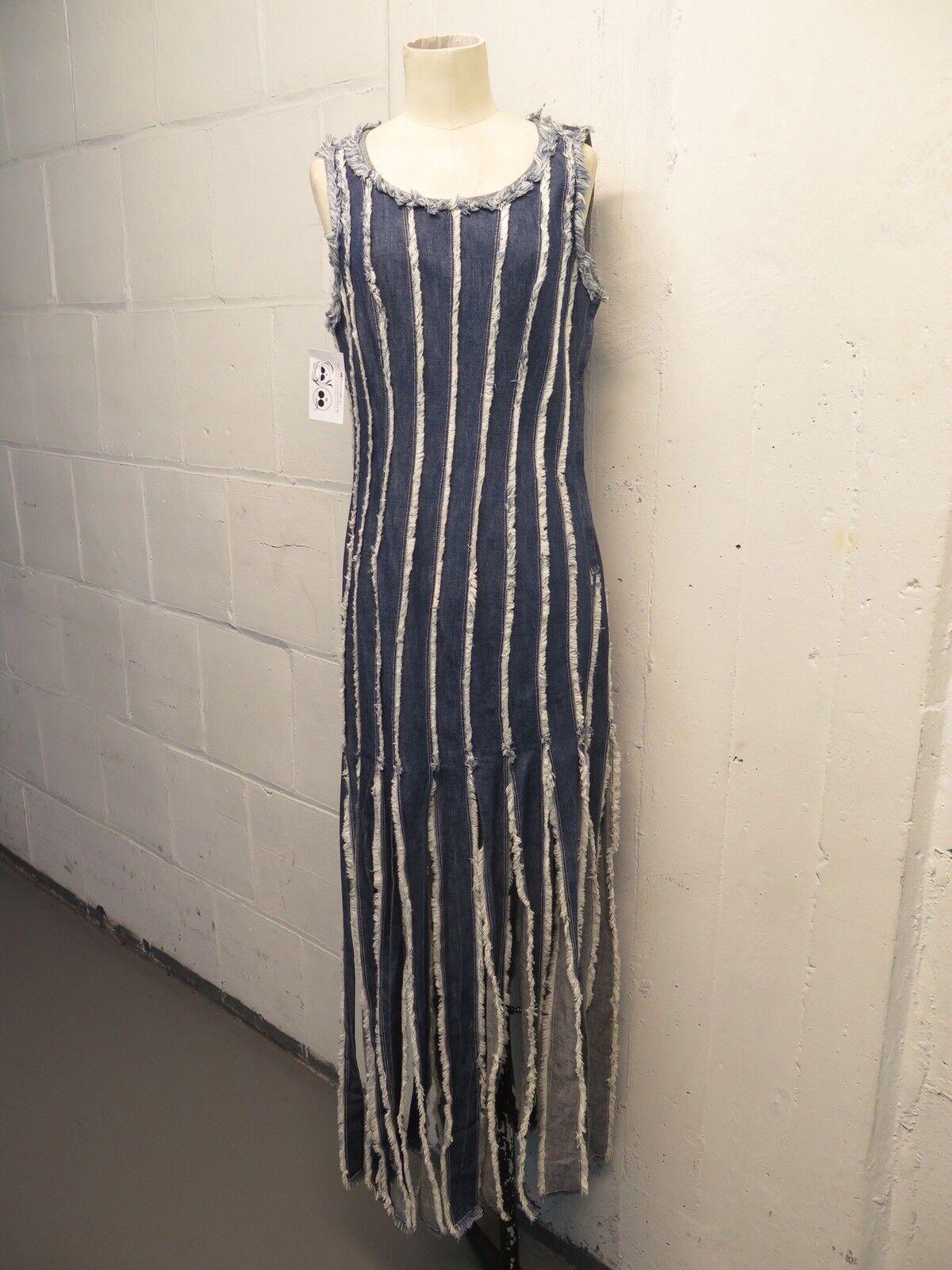 Jean Paul Gaultier JPG JPG JPG Jeans Denim Patchwork Car Wash Fringe Dress Sz 8 bbaada