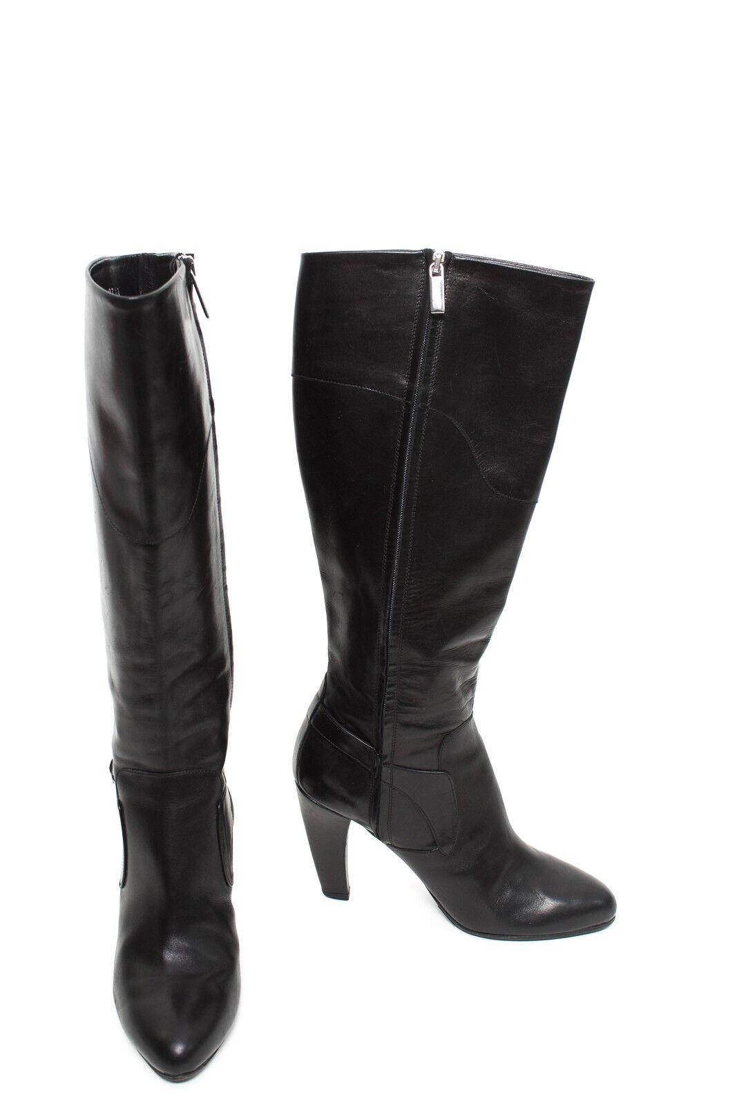Aigner botas talla de 36 negro zapatos señora botas de cuero